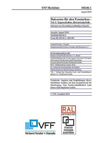 VFF-Merkblätter HO.06-1 und HO.11 überarbeitet - Holzarten und Holzschutz